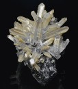 Quartz on Sphalerite tinged with Calcite