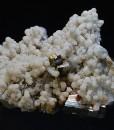 Calcite on Quartz, Pyrite