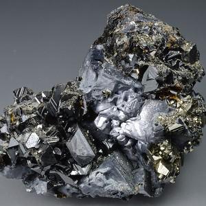Pyrite on Sphalerite, Galena