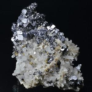 Skeletal Galena, Quartz, Sphalerite, Chalcopyrite