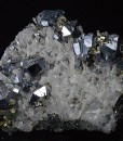 Twinned and truncated Galena, Pyrite, Quartz
