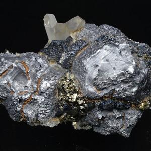 Twinned Galena, Pyrite, Chalcopyrite, Quartz