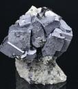 Truncated Galena on Quartz,Chalcopyrite, Sphalerite