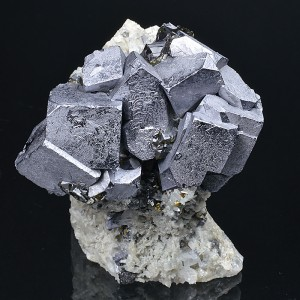 Truncated Galena on Quartz,Chalcopyrite, Sphalerite