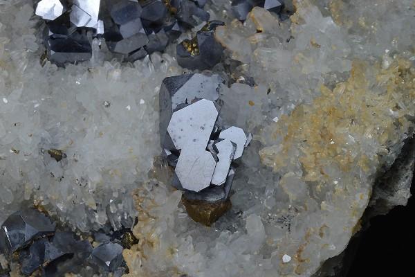 Truncated Galena, Chalcopyrite on Quartz, Calcite