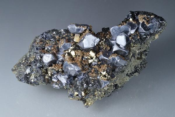 Twinned Galena, Pyrite, Sphalerite,Calcite