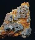 Skeletal Galena on iron oxide Quartz