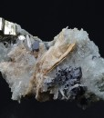 Skeletal Galena, Pyrite on Quartz and Calcite