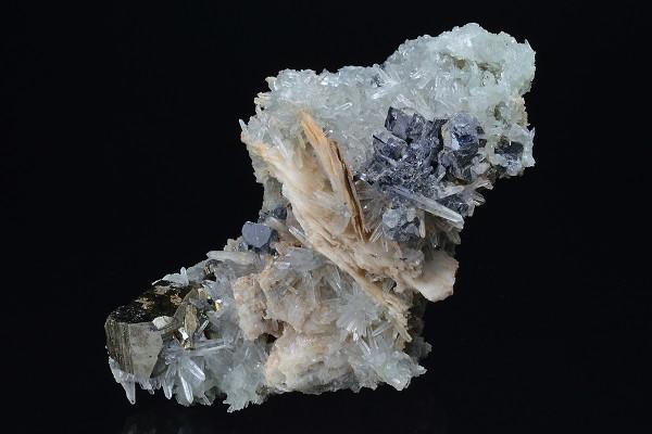 Skeletal Galena, Pyrite on Quartz and Calcite