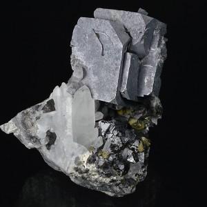 Galena on Quartz, Sphalerite, Chalcopyrite
