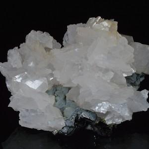 Calcite on Quartz and Sphalerite