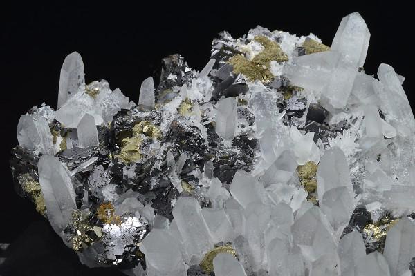 Quartz, Sphalerite, Chalcopyrite, Pyrite