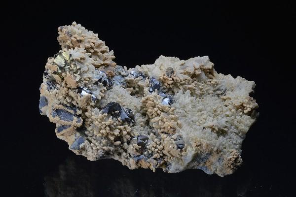 Sphalerite, Chalcopyrite on Quartz, Calcite, Galena