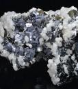 Calcite on twinned Galena, Sphalerite, Chalcopyrite