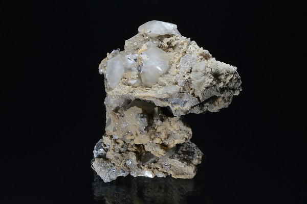 Calcite on Quartz, Galena, Sphalerite