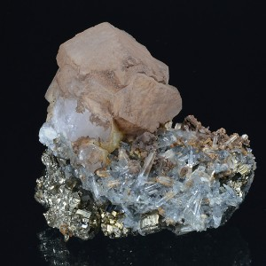 Calcite on Quartz, Pyrite