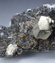 Pyrite on Sphalerite, Chalcopyrite, Quartz
