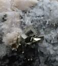 Pyrite on Quartz, Calcite