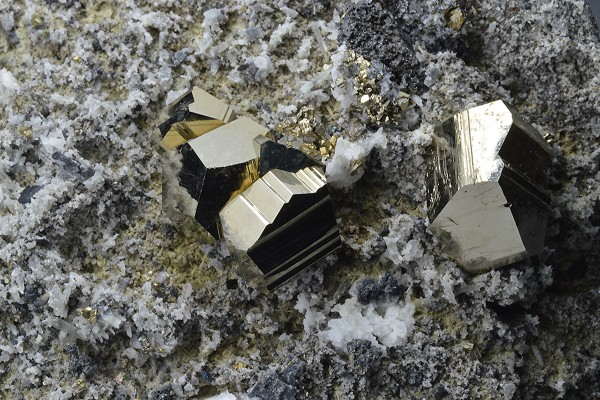 Pyrite on matrix, Quartz, Sphalerite