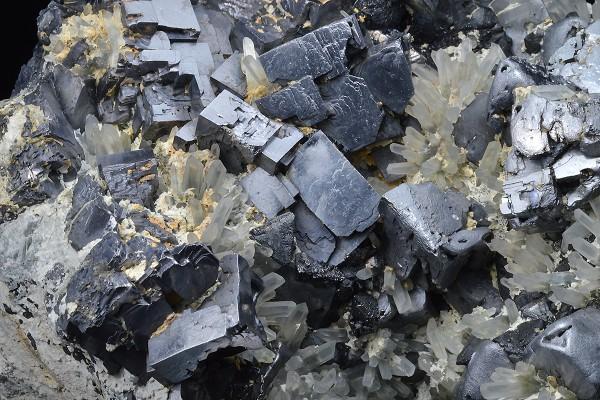 Galena on Quartz, Sphalerite, Calcite