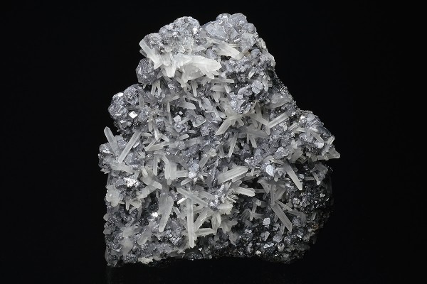 Quartz on twinned Galena, Sphalerite
