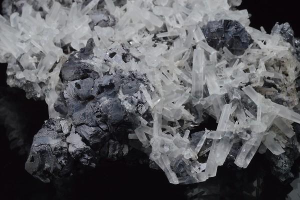 Quartz on Galena, Sphalerite