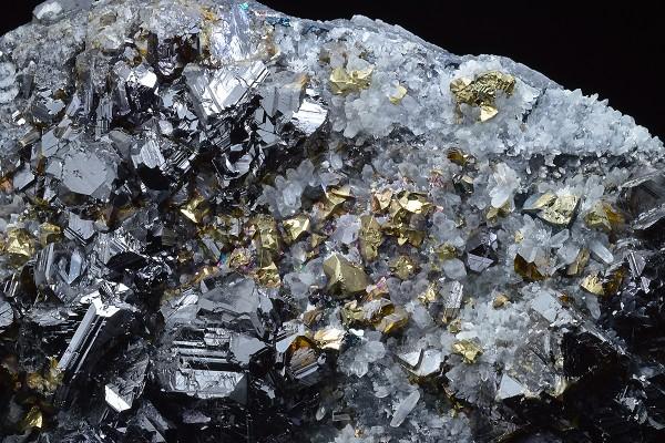 gem Sphalerite var.Cleiophane, Galena, Chalcopyrite, Quartz