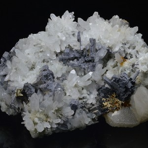 Skeletal Galena on Quartz, Calcite, Chalcopyrite