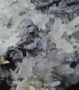 Skeletal Galena on Quartz, Calcite, Chalcopyrite