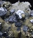 Truncated Galena, Sphalerite, Chalcopyrite, Pyrite