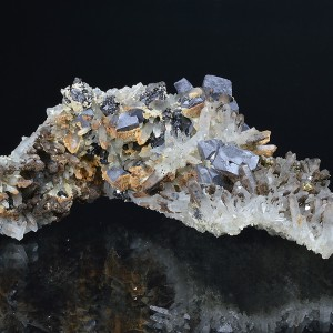 Galena on Quartz, Sphalerite, Calcite