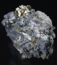 Skeletal Galena on Quartz, Pyrite, Sphalerite