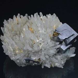 Galena and Chalcopyrite on Quartz