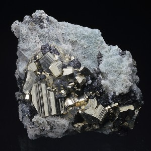 Pyrite and Sphalerite on Quartz