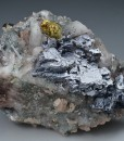 Twinned Galena on Quartz, Chalcopyrite, Calcite