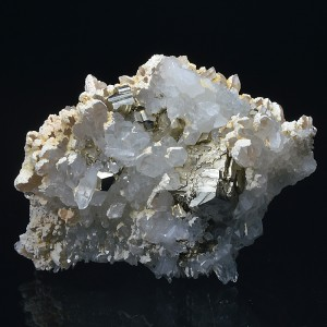 Pyrite on Quartz, Calcite