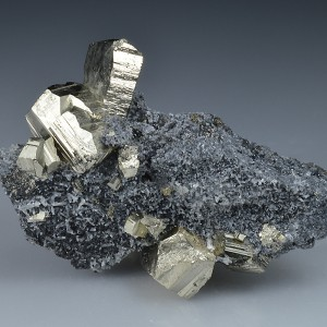 Pyrite on matrix, Sphalerite