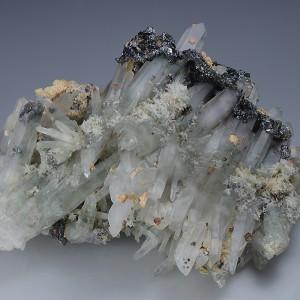 Bi-terminated Quartz, Pyrite, Sphalerite, Calcite, Chalcopyrite
