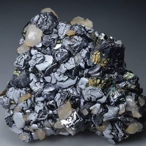 Skeletal Galena, Chalcopyrite, Calcite