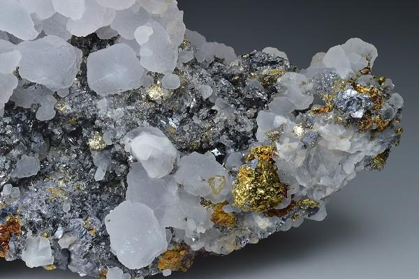 Skeletal Galena, Chalcopyrite, Calcite, Pyrite, Sphalerite