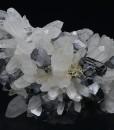 Truncated Galena on Quartz, Pyrite, Sphalerite