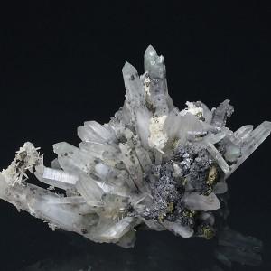 Quartz with inclusions, Sphalerite, Chalcopyrite, Calcite