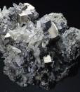 Pyrite on Sphalerite, Quartz, Galena
