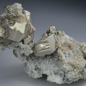 Pyrite on Quartz, Chalcopyrite