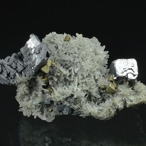 Skeletal Galena on Quartz, Chalcopyrite, Sphalerite