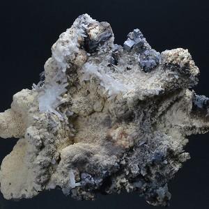 Quartz and Galena on Calcite, Sphalerite