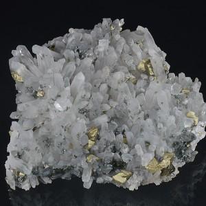 Chalcopyrite on Quartz, Calcite
