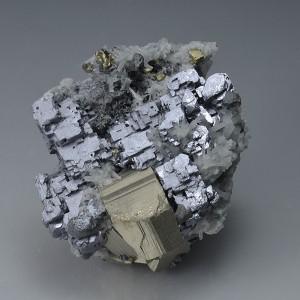 Skeletal Galena, Pyrite, Quartz, Chalcopyrite