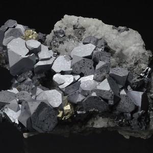 Truncated Galena on Quartz, gem Sphalerite, Pyrite