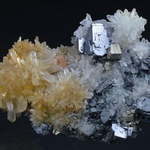 Galena on Quartz, Pyrite, Sphalerite